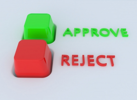 Red and green Approve Reject button switch