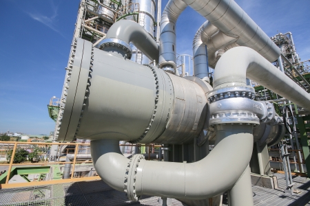 Big heat exchanger in Industrial plant process area in summer day