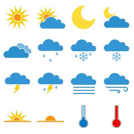 Illustration pour Colorful Weather Icon Set Vector - image libre de droit