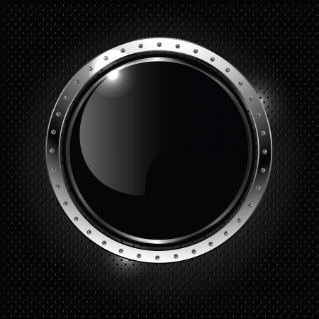 Abstract metallic background with round glossy banner, vector.