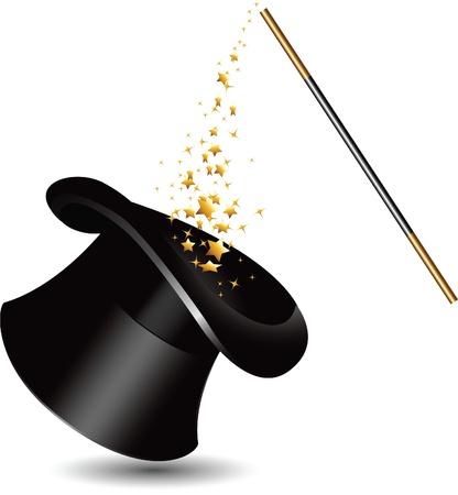 Illustration pour Magic hat and wand with sparkles. - image libre de droit