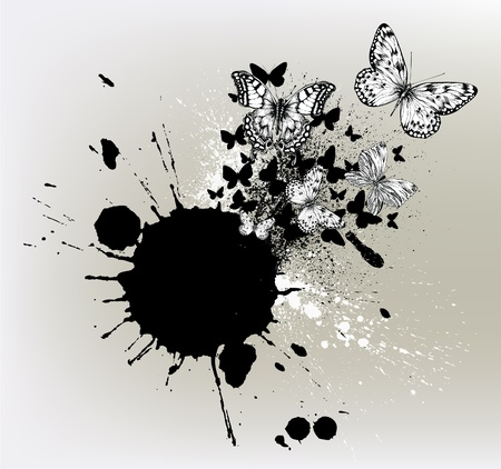 Background with ink spots and flying butterflies.