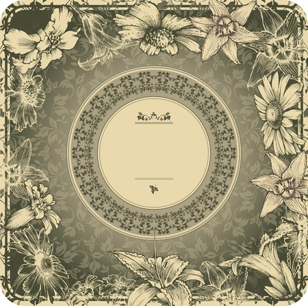 Illustration for Vintage frame with blooming flowers - Royalty Free Image