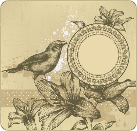 Illustration for Vintage background with frame, blooming lilies and birds. Hand drawing. Vector. - Royalty Free Image