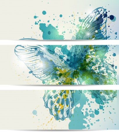 Set of three banners with butterflies and abstract blots