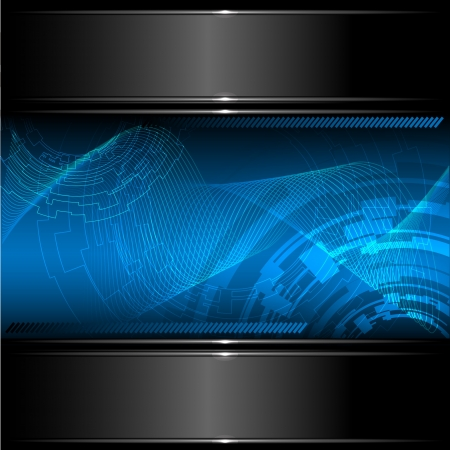 Abstract technology background with metallic banner. Vector eps10.