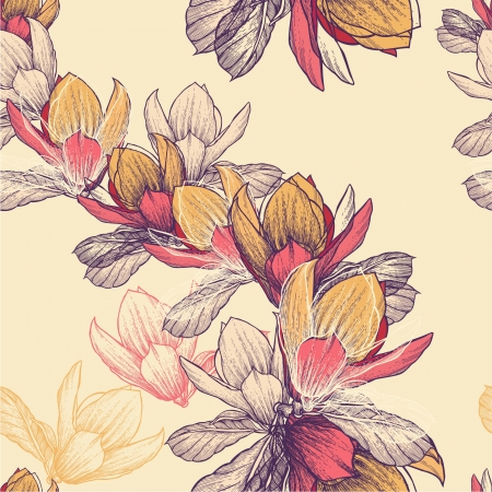 Seamless pattern with blooming magnolia flowers, hand-drawing.
