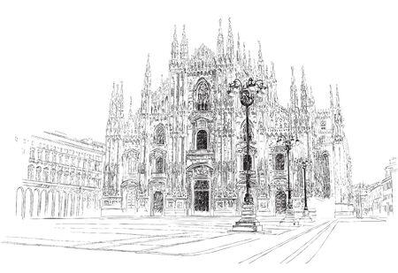 Illustration pour Milan Cathedral, hand drawing, vector illustration. - image libre de droit