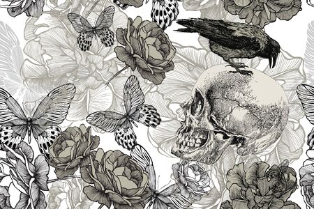 Photo pour Skull with a raven on a seamless, floral background. Vector illustration, hand drawing. - image libre de droit