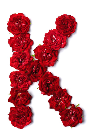 Foto de Letter of the English alphabet from red buds of roses on white background - Imagen libre de derechos