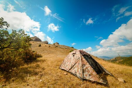 Photo pour Camping tent in the camp in the parking lot, concept vacation, camping, tourism, active lifestyle - image libre de droit