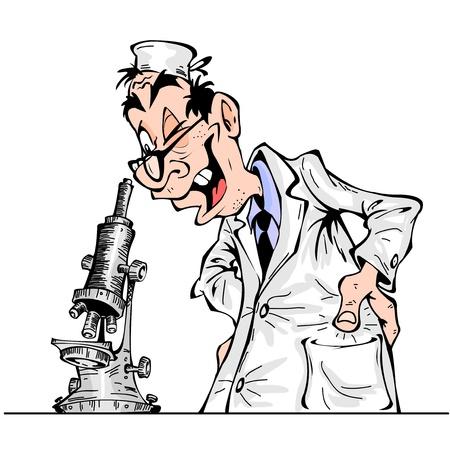Cheerful cartoon scientist looking through a microscope