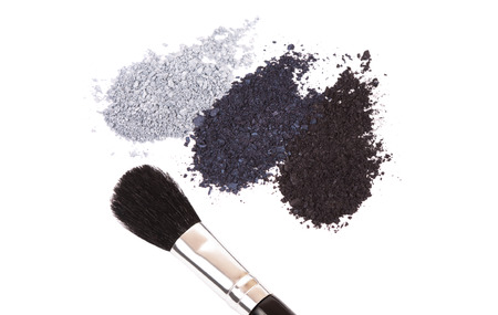 Powder eyeshadow makeup and brush on a white backgroundの写真素材