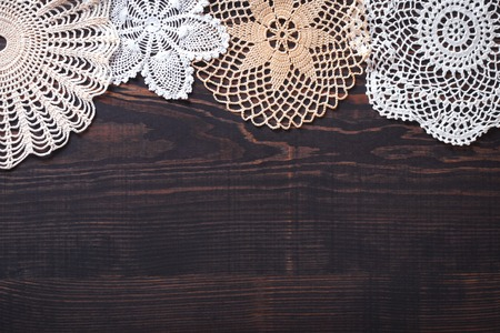 Photo pour Vintage background with white crochet lace. Knitted frame for wedding and invitation. Background for valentines day or birthday - image libre de droit