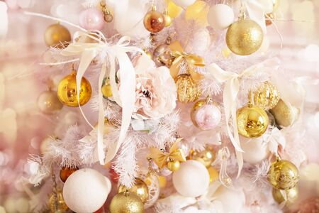 Photo for Decorated Christmas tree close-up, Christmas balls and garlands. Winter holidays. - Royalty Free Image