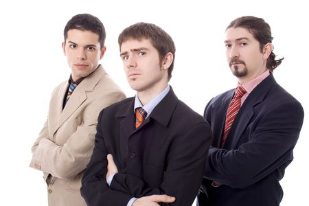 Three business serious men white isolate