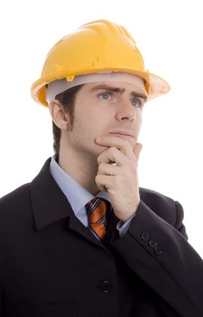 man thinking with yellow helmet white isoalte