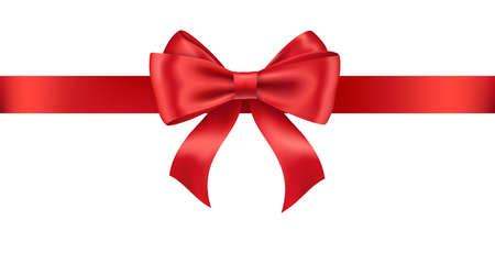 Illustration pour Realistic red ribbon and bow isolated on white - image libre de droit
