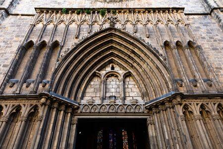 Esglesia de Santa Maria del PI. Decorated portal in typical catalan gothic style. Barcelona, Spain.