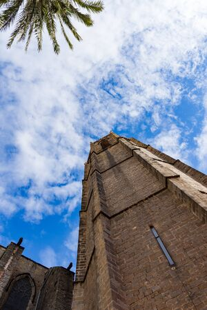 Esglesia de Santa Maria del PI, detail of the ancient tower. Barcelona, Spain.