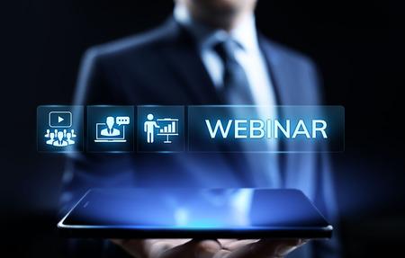 Photo pour Webinar E-learning Online Seminar Education Business concept. - image libre de droit