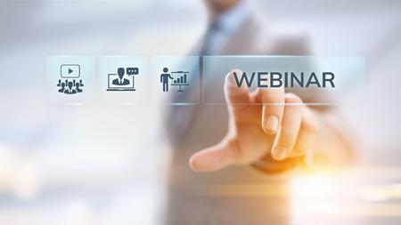 Foto de Webinar E-learning Online Seminar Education Business concept. - Imagen libre de derechos