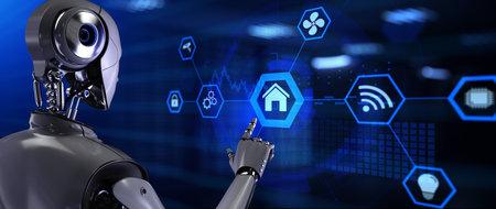 Photo pour Smart home automation technology. Robot pressing button on screen 3d render. - image libre de droit