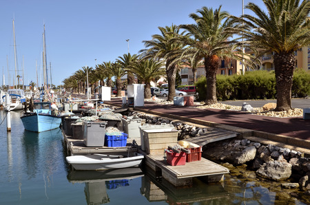 Fishing port of Canet-en-Roussillon, commune on the cote vermeille in the Pyrenees-Orientales department, Languedoc-Roussillon region, in southern France