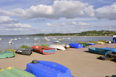 Small boats in the port of Perros-Guirec, a commune in the Cotes of Armor department in Brittany in northwestern France