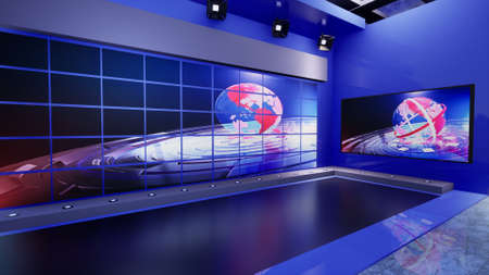Photo for 3D Virtual TV Studio News with green screen, 3d illustration - Royalty Free Image