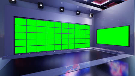 Photo for 3D Virtual TV Studio News, 3d illustration - Royalty Free Image