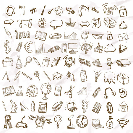 Illustration pour Set of doodle icons. Business subjects and schools. - image libre de droit