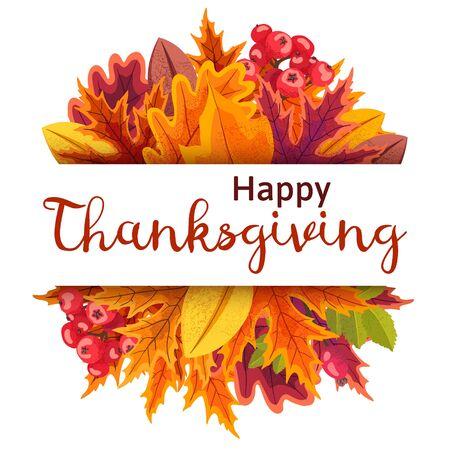 Illustration pour Happy Thanksgiving background with stylized autumn leaves. - image libre de droit