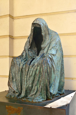 Il Commandatore or Cloak of Conscience (sculptor Anna Chromy), in memory of Mozart\'s Don Giovanni premiered October 29, 1787 in Estates Theatre in Prague.