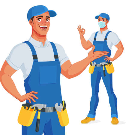 Illustration for Handyman in overalls and tool belt presenting and showing OK. Vector illustration. - Royalty Free Image