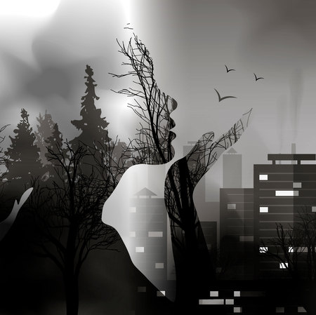 Illustration pour The transition from the forest to the city with the silhouette of a girl. Capture the city of wildlife. Ink effect. Double exposure on environmental issues 10 eps - image libre de droit