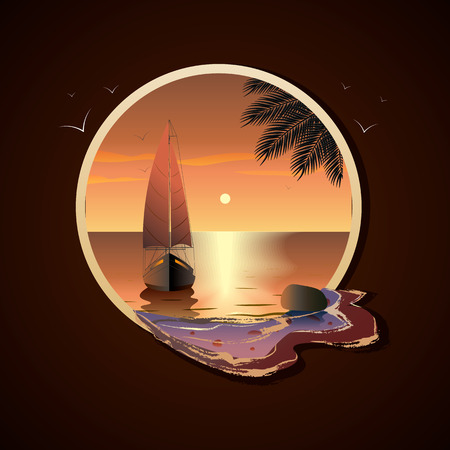 Illustration pour Yacht with sails in the sea at sunset near a tropical island in frame - image libre de droit