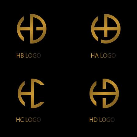 Illustration pour set letter logo, HA HB HC HD letter logo, company logo. - image libre de droit