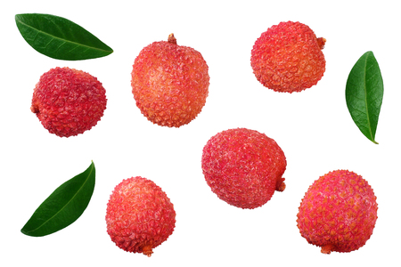 Foto de Fresh lychee with leaves isolated on white background. top view - Imagen libre de derechos