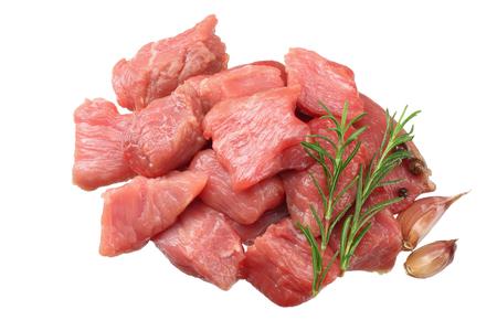 Foto de pieces of raw beef meat isolated on white background. top view - Imagen libre de derechos