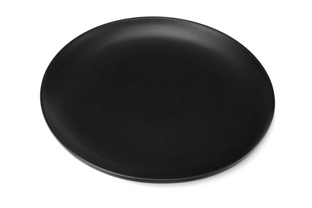 Photo pour empty black round plate isolated on a white background - image libre de droit