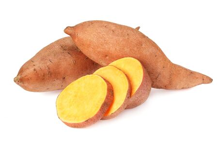 Photo pour Sweet potatoes with slices isolated on a white background - image libre de droit