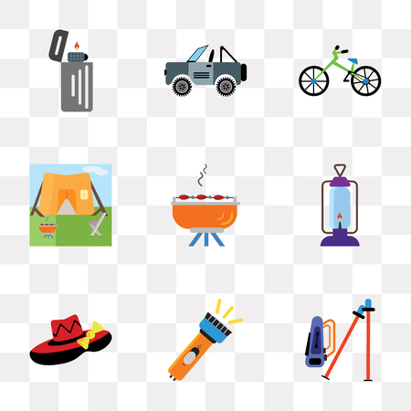 Set Of 9 simple transparency icons such as Hiking, Flashlight, Hat, Lantern, Barbecue, Tent, Bicycle, Jeep, Lighter, can be used for mobile, pixel perfect vector icon pack on transparent background
