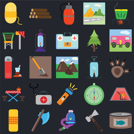 Set Of 25 icons such as Canned food, Pick, Hat, Axe, Band aid, Trailer, Oil lamp, Flashlight, Picnic table, Camp chair, Canteen, Log on black background, web UI editable icon pack