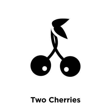 Illustration pour Two Cherries icon vector isolated on white background, logo concept of Two Cherries sign on transparent background, filled black symbol - image libre de droit