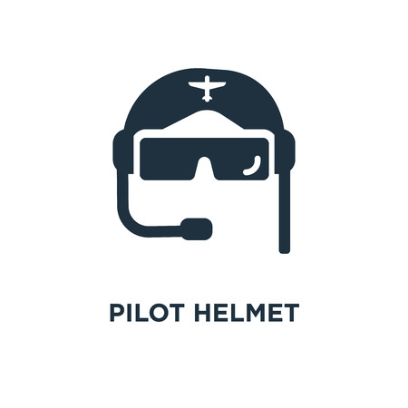 Ilustración de Pilot Helmet icon. Black filled vector illustration. Pilot Helmet symbol on white background. Can be used in web and mobile. - Imagen libre de derechos