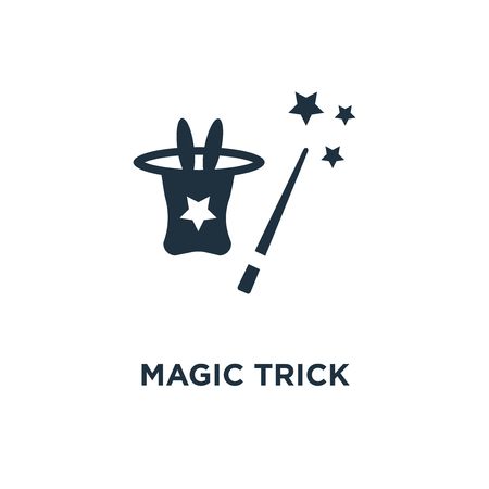 Illustration pour Magic trick icon. Black filled vector illustration. Magic trick symbol on white background. Can be used in web and mobile. - image libre de droit