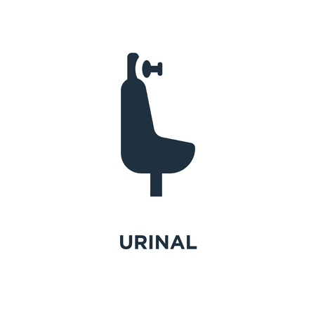 Illustration pour Urinal icon. Black filled vector illustration. Urinal symbol on white background. Can be used in web and mobile. - image libre de droit