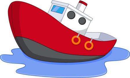 Cartoon boat with water