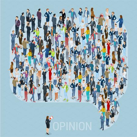 Illustration pour Public opinion 3d isometric people social networking mock up. People crowd comment speech bubble frame shape icon. Isometric vector presentation template. - image libre de droit